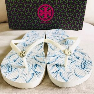 Tory Burch | White Elora Flip Flop Size 9 With Box